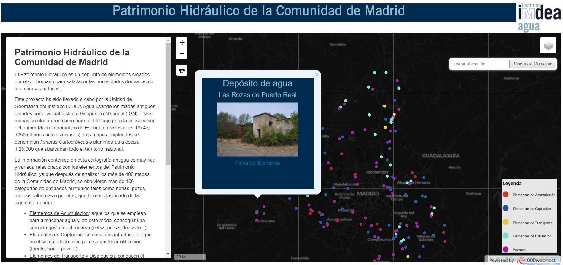 Imagen WebMapping del patrimonio hidráulico madrileño